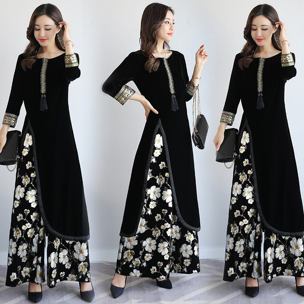 841774b921 Spring autumn india Pakistan Women Clothing New design Europe style Fashion  2 pieces sets vintage pattern