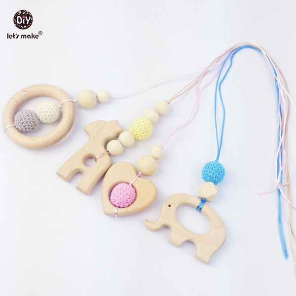 Let's Make wooden teether 4pc giraffe wood beads elephant crochet beads necklace rattle toys montessori play gym accessories