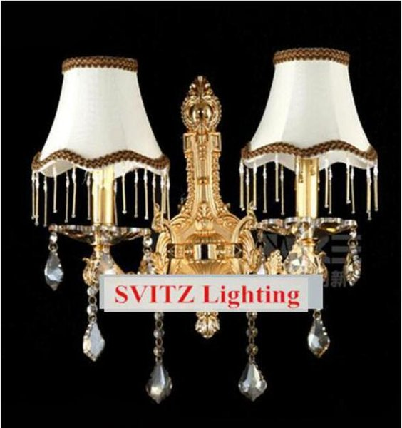 SVITZ modern wall Sconce with fabric lampshade 2 lights Italian Elegant Wall lamps Europe fluorescent wall lightis for bedroom hallway