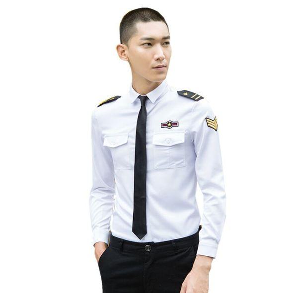 Nouveau Plus Size Vêtements pour hommes Mâle Mode slim performance uniforme Star Épaulette À manches longues Chemises Homme Costume Tops S-5XL 3 Couleur
