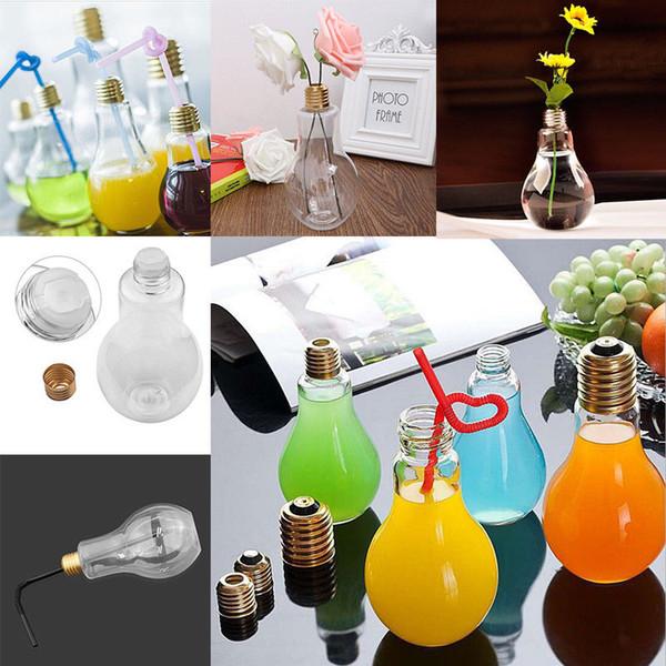Resplandor de verano Bombilla LED Botella de agua Chica linda Moda Leche Jugo Bombillas Bombilla Vaso de agua Taza con tapa GGA388