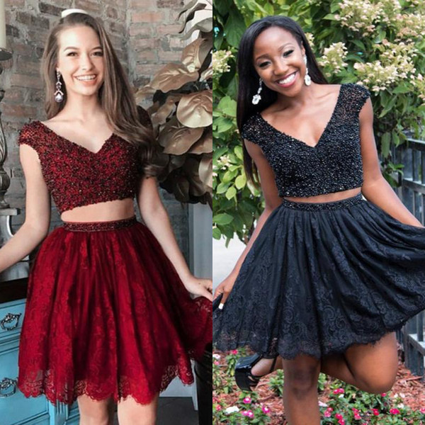 Stylish Burgundy Black Top Beaded Two Piece Cocktail Party Dresses Lace Mini Short Prom Party Gowns Cap sleeve Black Girl Plus Size Holiday