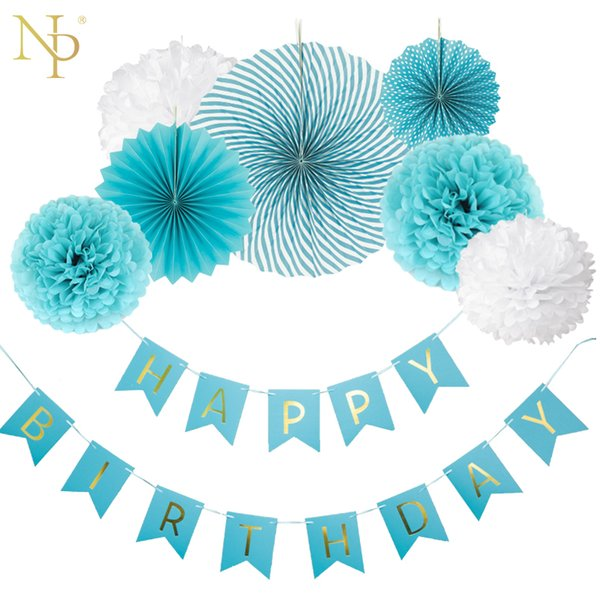 Nicro 8Pcs DIY Boy Blue Birthday Banner Flower Paper Fan Set Tissue Hanging First Party