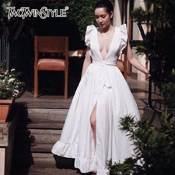 TWOTWINSTYLE Elegante Vestido de Praia Feminino V Neck Sem Mangas De Cintura Alta Lace Up Split Branco Maxi Vestidos Mulheres 2018 Moda Primavera