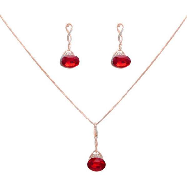 Conjuntos de joyería de cristal de moda para la mujer oval collar colgante pendientes declaración nupcial regalo de la boda rojo azul negro