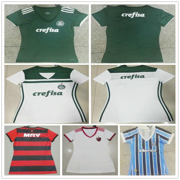 Top Thai Qualität 2018 2019 Frau Palmeiras Fußball Trikot Home Grün Weiß 18 19 CR Flamengo Damen Damen Mädchen Rot Fertigen Sie Fußball-Hemd besonders an