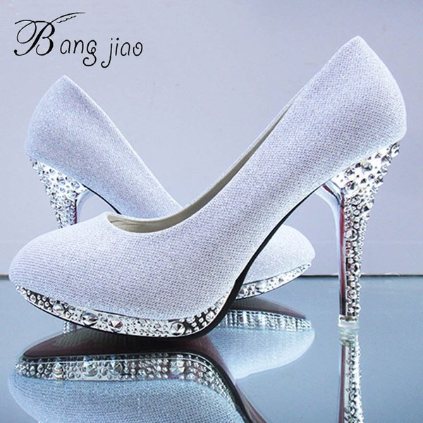 Crystal Women's Wedding Shoes Woman Bridal Evening Party Red High Heels Shoes Sexy Women Pumps Glitter White Bridal Shoes