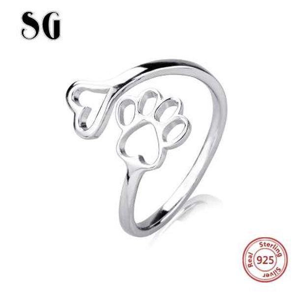 SG Authentische 100% 925 Sterling Silber hundekralle Herz Fingerring für Frauen Sterling Silber Schmuck Geschenk Kostenloser Versand