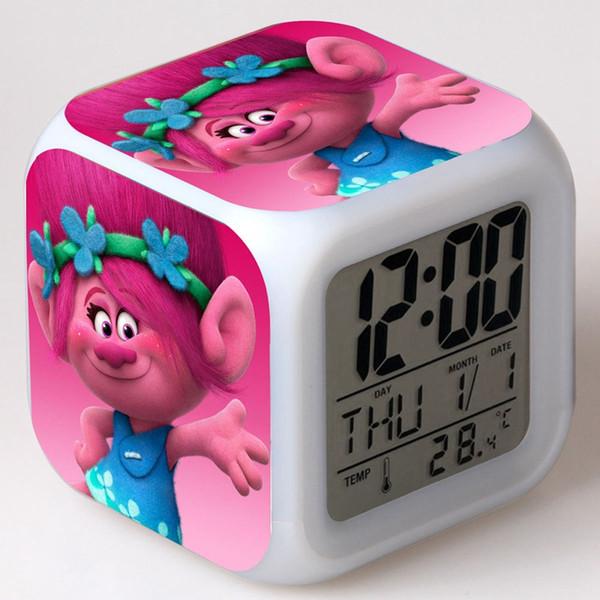 Multi-función de Trolls de Dibujos Animados Niño Snooze 7 Color Cambio Brillante Despertador Digital Reloj LED Reloj Despertador Cubo de juguete