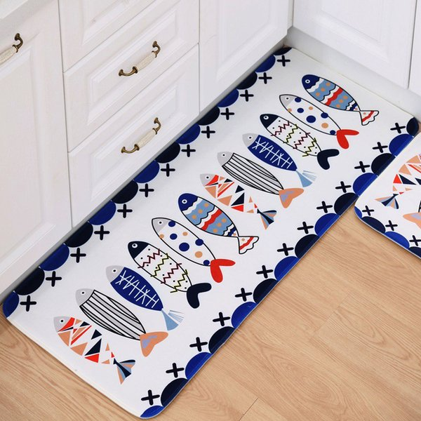 Plants Fish Pattern Microfiber Floor Mats Welcome Door Mats Absorbent Bathroom Carpets Kitchen Rugs Soft Bedroom Bedside