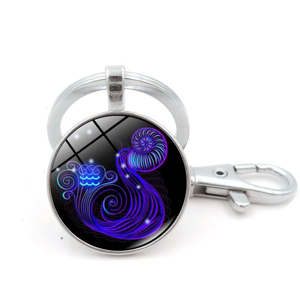 Zodiac Sign Key Rings Round Electroplate 12 Constellation Keys Chain Alloy Glass Jewels Keychain For Men Women 2 9ss BB