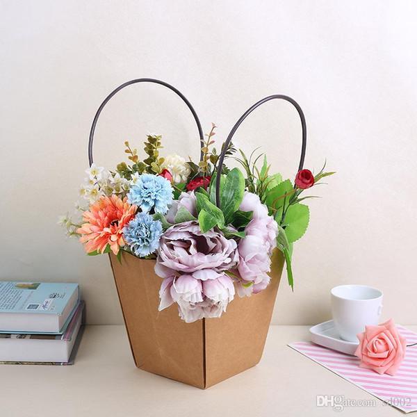 Paniers de rangement pliables avec double poignée plantes succulentes Kraft Papier panier de fleurs pour la décoration intérieure fournitures 2 4jc3 ff
