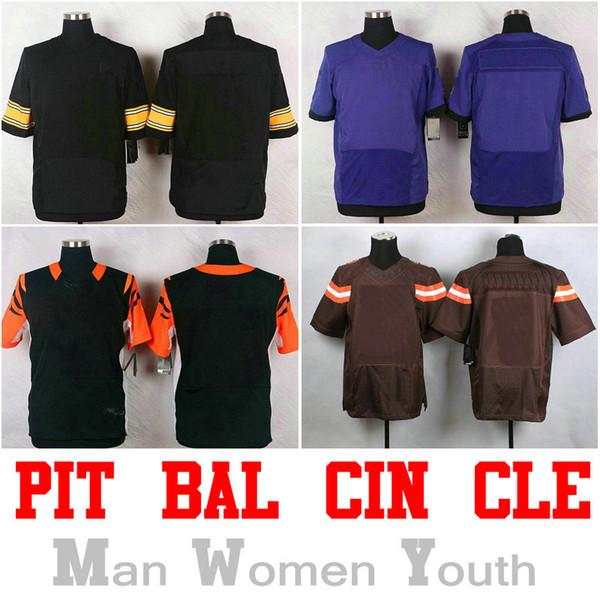PIT BAL CIN CLE AFC NORTH Jersey de futebol americano Nome Número são  costurados Preto Branco d3ed5eb3cb7