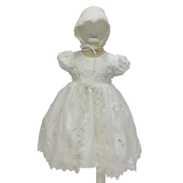 High Quality Baby Baptism Dress for Infant Girls Ivory Embroidery Organza First Communion Baby Gowns with Hat Bebe Vestido
