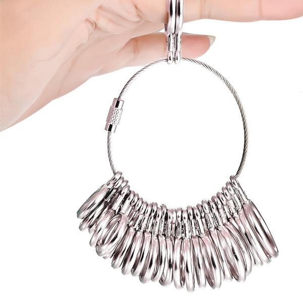 Anneau mandrin de bague avec 26 anneaux en m/étal pour mesurer les diam/ètres et les doigts
