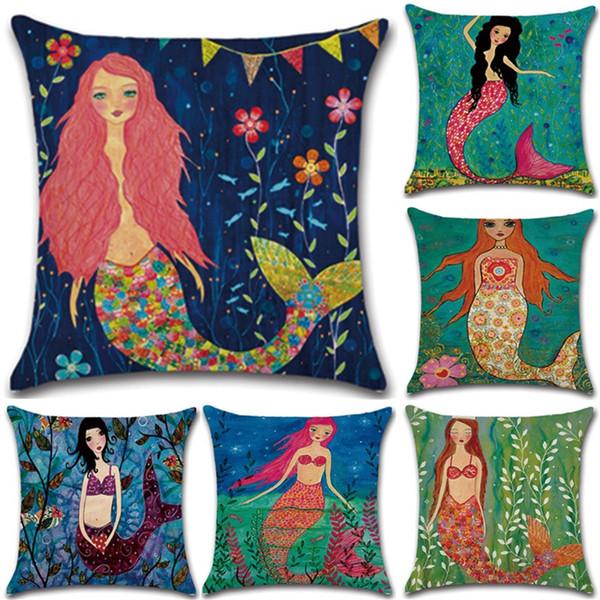 La variété d'explosion de styles de dessin animé sirène taie d'oreiller housse de coussin coloré Sea-Maiden aucun noyau d'oreiller 4 8kh X
