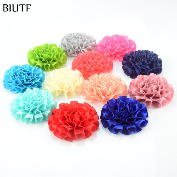 Whlessale 100pcs Lot Diy Applique Fabric Satin Ribbon Flowers For Hair Band Headbands Hair Accessories 25 Assorted Color Headwear