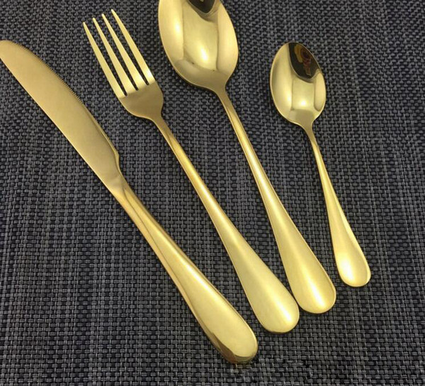 4 Piezas / Juego Juegos de vajilla de acero inoxidable de color oro Vajilla Cuchillo Tenedor Cucharilla Set de cubiertos de lujo Juego de vajilla