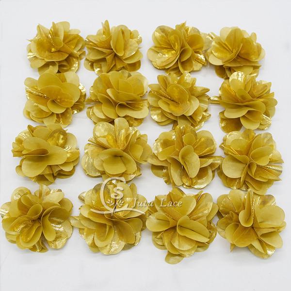 10yards 130pcs Lot Decorative Fabric Flower For Garment Fancy Golden Color Chiffon Petals Flower Kids Hair Accessories Headwear