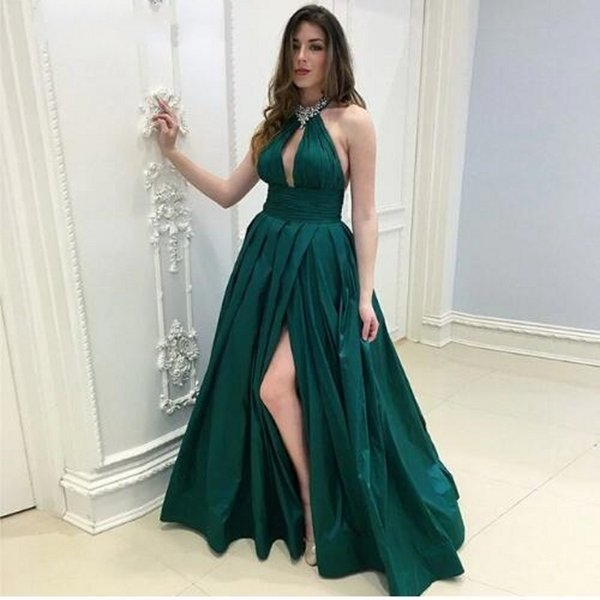 Halter Prom Dresses Long Split Vestidos De Fiesta Largos Elegantes De Gala 2018 Formal Dress Galajurken Evening Party Prom Gowns Lds Prom Dresses Long