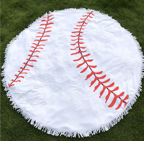 150cm Baseball Softball Tapestry Beach Towel Round blanket with Tassel Fringing Beach Throw round Outdoor Sports Yoga Mat Table Cloth 30pcs