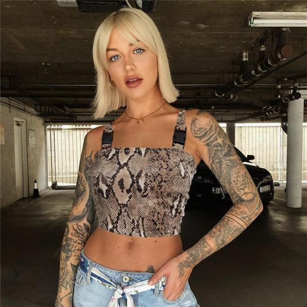 Kasimur Print Snake Buckle Tank Top Women Sexy Off Shoulder Snug Fabric Crop Tops Womens Good Quality Clubwear Soft Clothing