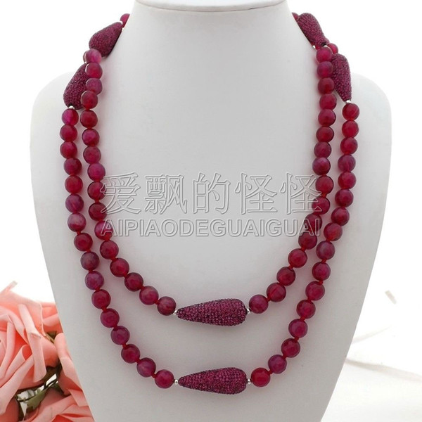 N060101 50'' Round Faceted CZ Micro Teardrop Beads Necklace