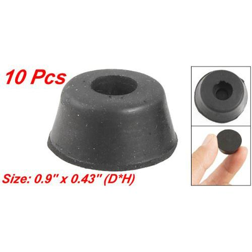 SDFC 10 pcs 22mm x 11mm CHair Table Leg Recessed Black Rubber Feet Pads