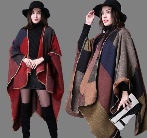 50pcs Plaid Poncho Women Vintage Scarf Floral Wrap Knit Cashmere Scarves Lady Winter Cape Shawl Cardigan Blankets Cloak Coat Sweater M319