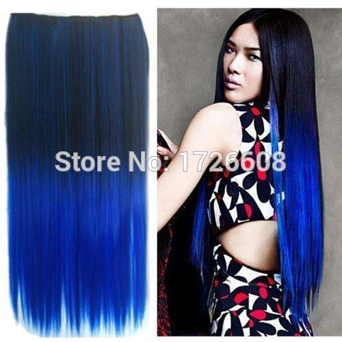 Ombre dark to blue cosplay hair clip in hair extension straight synthetic mega hair pad hot popular women's hairpiece accessory