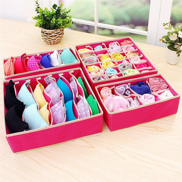 New Folding Rose Red Woman Socks Clothing Bras Closet Organizer Divider Boxes Underwear Storage Containers Box High Quality 10 5fc aa