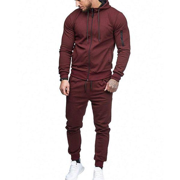 best selling New Autumn Casual Men Set Fashion Solid Black Male Hooded Sweatshirt+Pants Tracksuit Pockets Drawstring Sportwear Set Plus Size