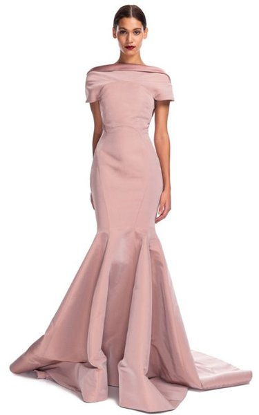Evening dress Yousef aljasmi Long Dress Short Sleeve Ruffle Bateau Pink Ployester Mermaid Labourjoisie kim kardashian Myriam Fares