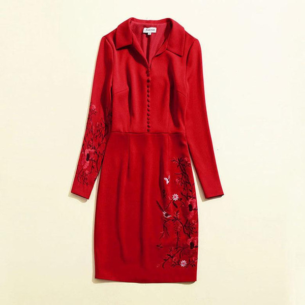 2018 Autumn Fall Newest Fashion Lady Lapel Neck Long Sleeve Embroidery Fashion Red Buttons One Piece Dress Runway Dresses O021856