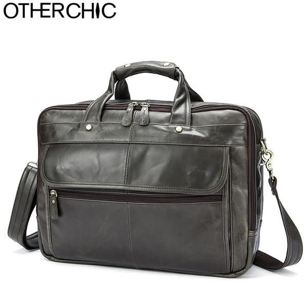 OTHERCHIC 3 Layers  Portfolios Briefcase Genuine Leather Business Bag Vintage Men Messenger Bags Lawyer Handbags 7N06-28
