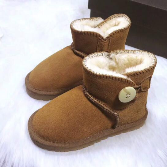 Зимняя новая детская обувь с одной пряжкой для мальчиков и девочек кожаные сапоги для снега толстые теплые нескользящие сухожилия из говядины GAOSHENG