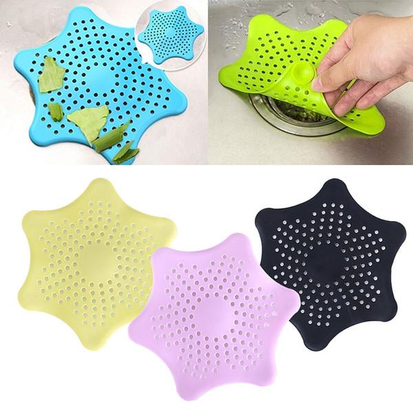 Drenajes de piso del lechón de silicona Durable suave Hexagonal Star Sink Filtro de ducha Colador de alcantarillado Colador de cocina DHL 822
