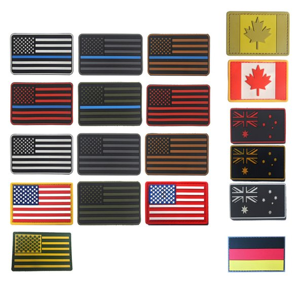 Outdoor Tactical Rubber Patches HAKEN und SCHLAUFE Verschluss Gummi Kunststoff Abzeichen Armband Aufkleber Tactical PVC Country Flag Patch