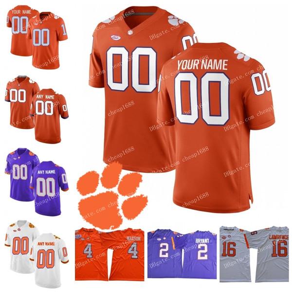 NCAA Clemson Kaplanları # 2 Sammy Watkins 5 Tee Higgins 6 DeAndre Hopkins 7 Austin Bryant Dikişli 2018 Yeni ACC Koleji Futbol Forması