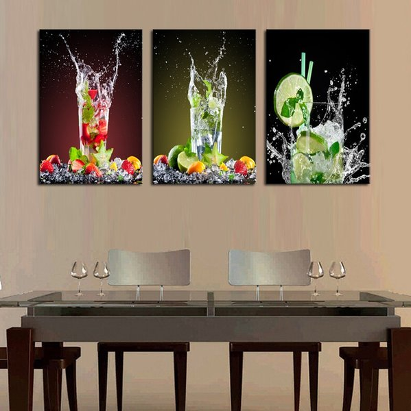 Modular Framework Wall Art Painting 3 Pieces Lemon Glass Drink HD Print Canvas Popular Picture For Living Room Decor Poster