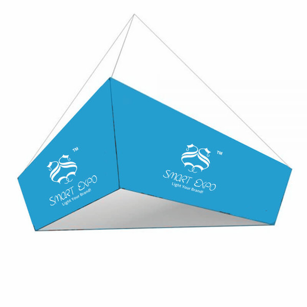 16ft(TL)*14ft (BL)*5ft (H) Tapered Triangular Hanging Banner for Trade Show with Strong Aluminum Tubing Structure
