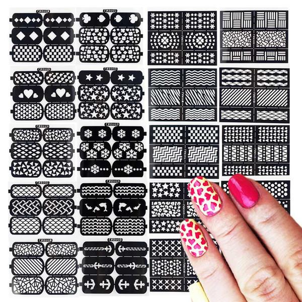 24 Feuilles Nylon Vinyles Creux Irrégulier Grille Nail Art Pochoirs Autocollants Modèle Beauté Creative DIY Décor Art Outils LA424