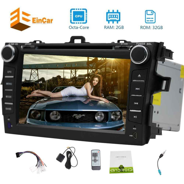 Eincar Android 7.1 Octa-Core 7'' Touch Screen Car DVD Player for Toyata Corolla(2007-2013)In Dash 2GB RAM+32GB ROM Start UP logo&Screen