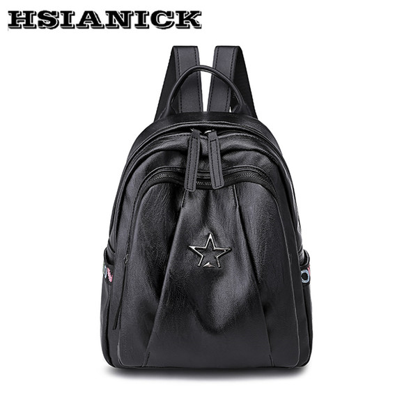 Backpack female 2018 new fashion design casual black cloth PU travel backpack simple soft leather ladies bag small backpaack