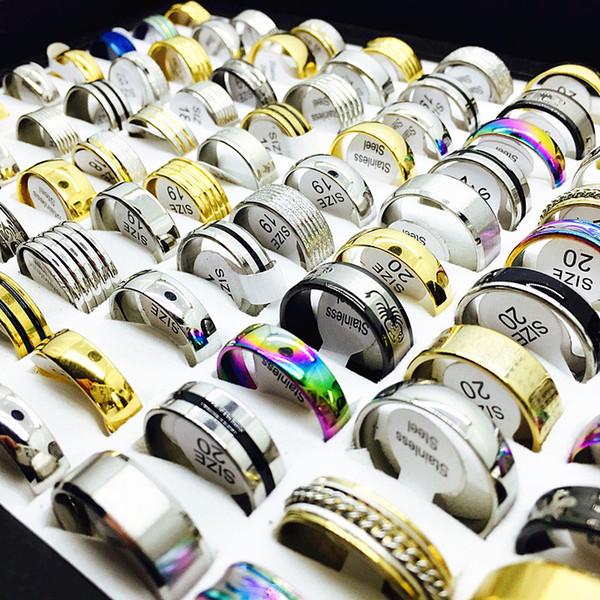 Anelli di moda per i regali di fidanzamento del partito dell'acciaio inossidabile delle donne degli uomini dell'acciaio inossidabile del lotto 100pcs all'ingrosso Brand New