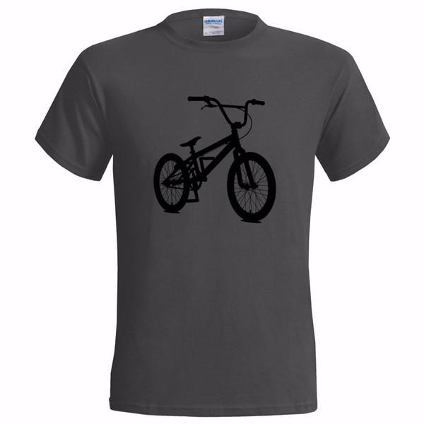 CAMISETA DE HOMBRES DE SILUETA DE BMX BICICLETA DE BICICLETA DE STOCK BICICLETA Camisetas de estilo redondo