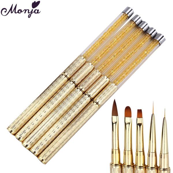 drawing brush Monja Nail Art Painting Pen Rhinestone Handle Acrylic Liquid Powder Carving Gel Polish Tips Extension Petal/Liner Draw Brushes
