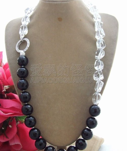 """N062807 23"""" 16MM Faceted Onyx White Crystal Necklace"""