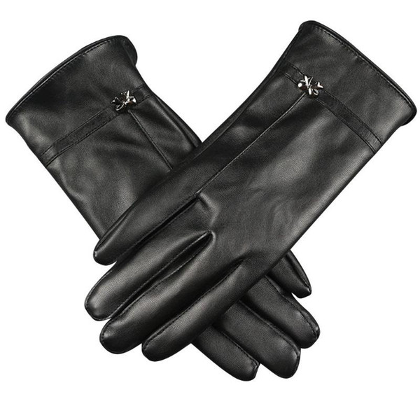 1 pair Winter Autumn Warm Gloves Women Driving Touch Screen PU Leather Bow Glove