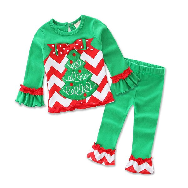 Apparel Clothing Sets Infant Baby Toddler Boys Girls Christmas Outfits Clothes 1-3 Years Old,Long Sleeve Xmas Deer Print Tops Pants Set
